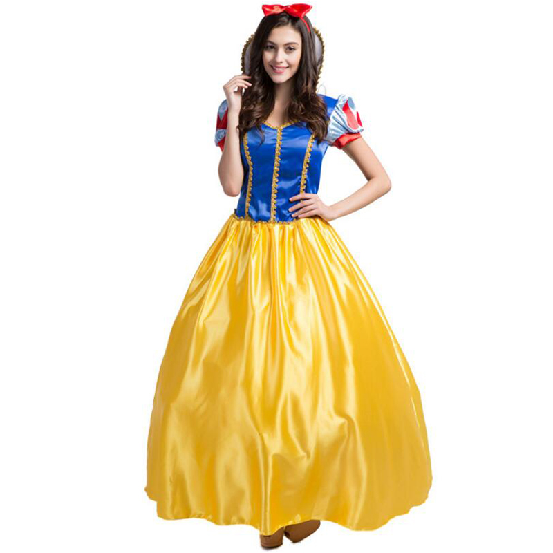 Snow White Fairytale Princess Dress Cosplay Costume Adult Women Halloween Party Uniform Dress