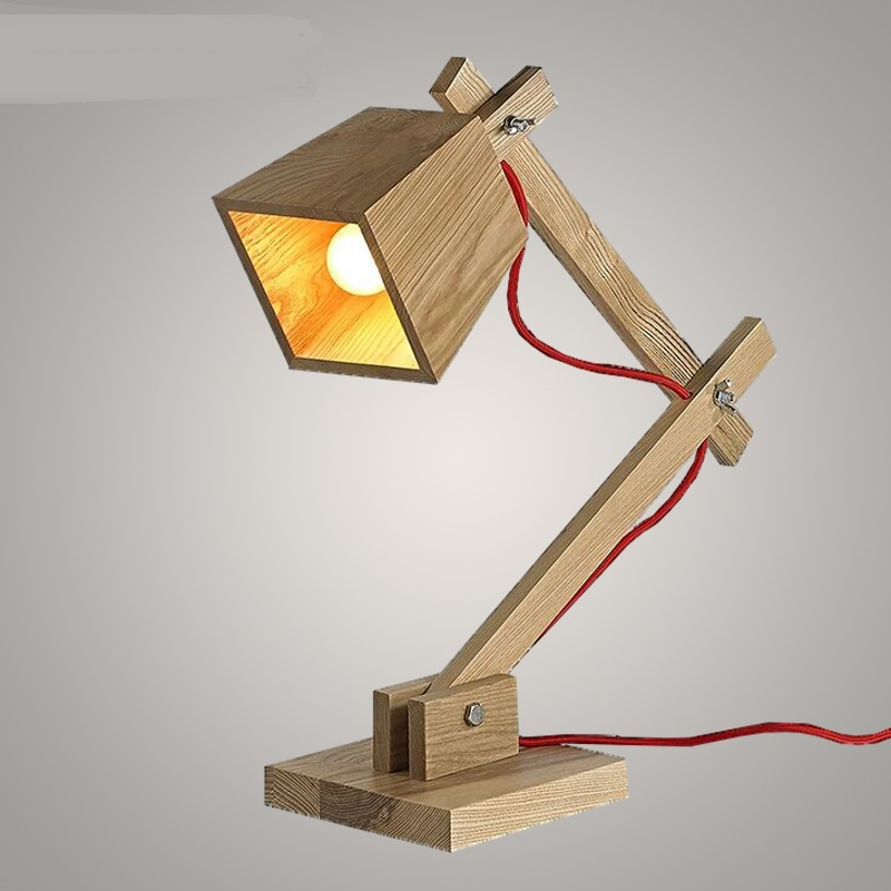 wood table lamp Nordic solid wood table lamp creative desk lamp study bedroom bedside lamp solid цены