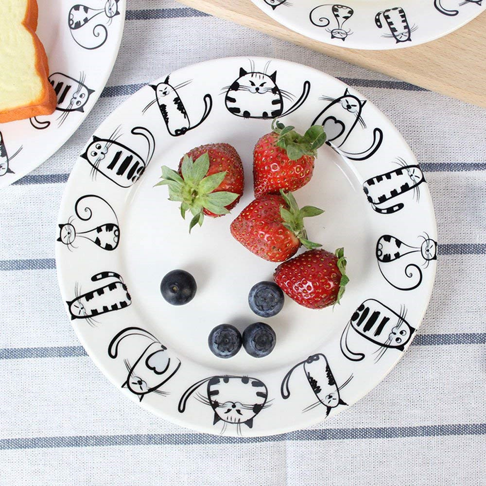 Super Cute Cat Ceramic Plate Dinner Plate Dessert Plate Appetizer Plate Salad Dish Steak Plate Service Plate for Party Kitchen Birthday Wedding Catering Meow Porcelain 7inch5