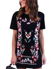 Yfashion Printed T-Shirt Dress Short Sleeve Round Neck Straight