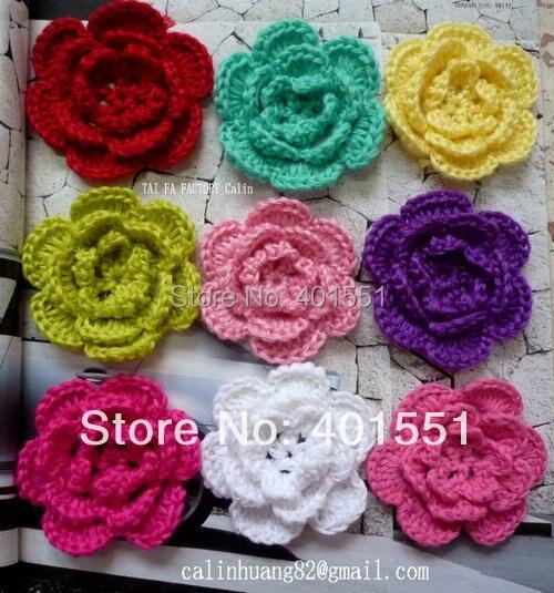 50pcslot 3 Big Handmade Crochet Flowers Applique Accessory For