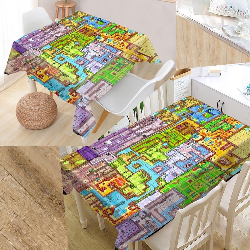 US $14.05 26% OFF Custom Legend of Zelda Map Table Cloth Oxford Rectangular on