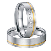 high end luxury handmade custom gold color inlay health titanium wedding bands couples rings sets