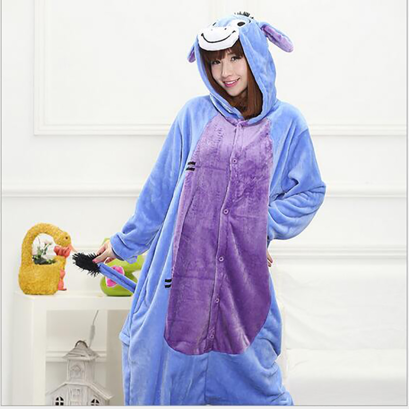 2017 New Fashion Womens Donkey Costumes Cosplay Costume Pyjama Body Homme Full Sleeve Polyester Sleep Lounge Onesies Pajamas