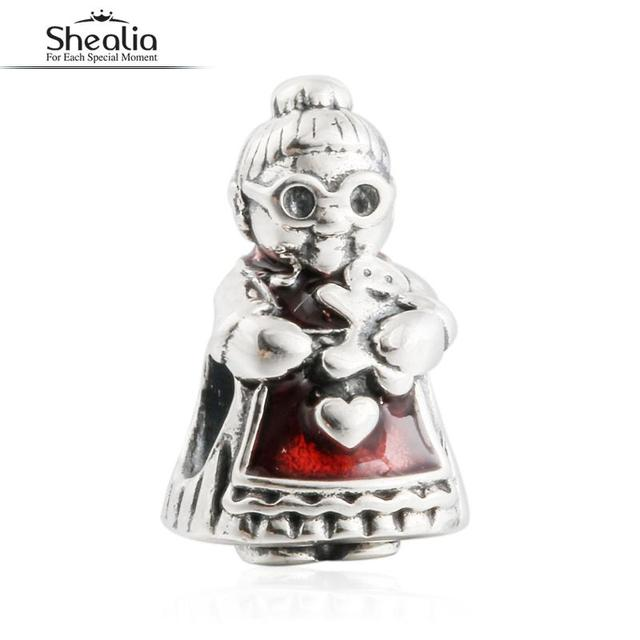2016 Winter New 925 Sterling Silver Red Enamel Mrs. Santa Claus Charms Beads For Shealia Jewelry Making Diy Christmas Bracelets