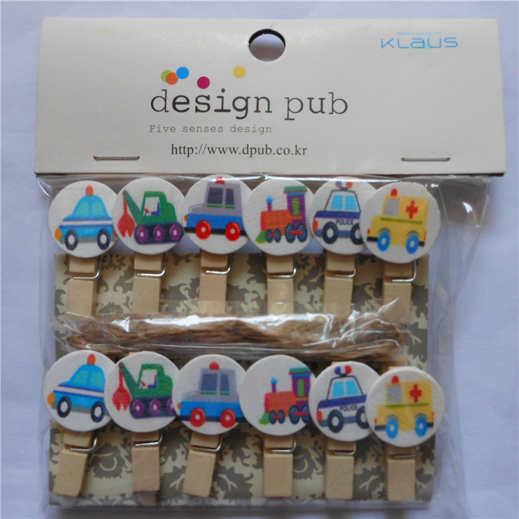 12pcs/lot Cute Round Car Wooden Clip Photo Paper Clothespin Craft Clips Party Decoration Clip With Hemp Rope