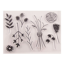 New Flowers Rose Leaves Clear Stamp Rubber Transparent Silicone Seal for DIY Scrapbooking Photo Album Decorative Template Crafts