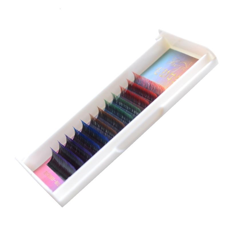 Rainbow Colorful Flash Eyelash Extension Natural Long Gradient False Individual Eye Lash Makeup Artificial Fake False Eyelashes