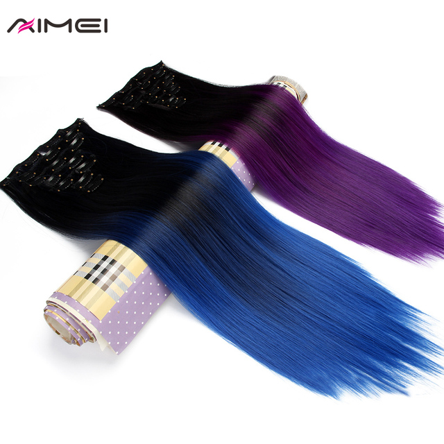 Aimei Women Synthetic Clip In Hair Extensions 20 50cm 7pcsset Full