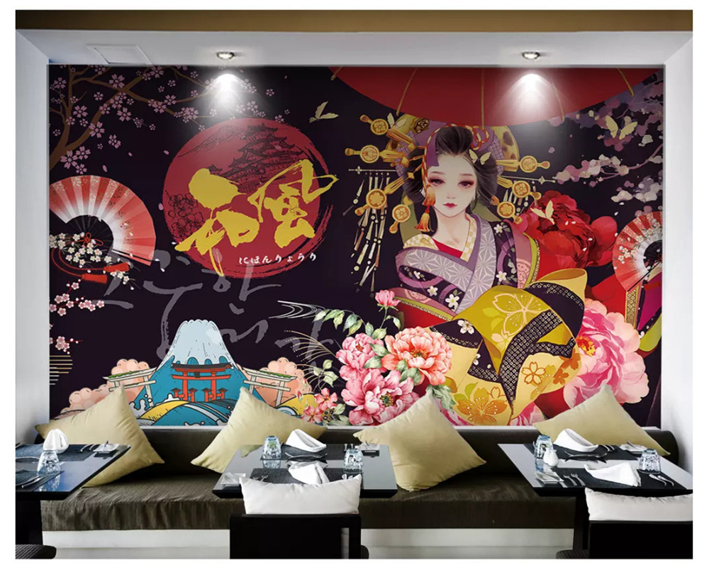 beibehang Custom wall papers home decor formaldehyde-free personalized decorative painting wallpaper sushi restaurant background xl7215 personalized decorative color feather creative wallpaper