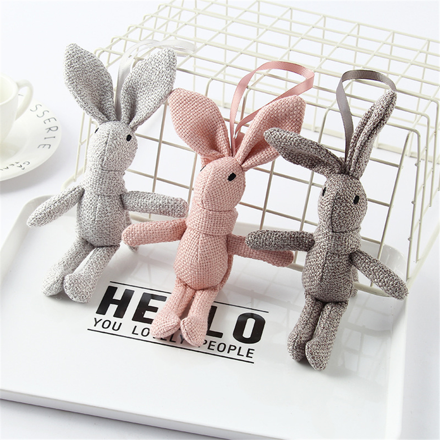 Mini Plush Toy Doll Cute Rabbit Linen Pendant Bag Accessories Kids Gift Bouquet Dolls 17cm