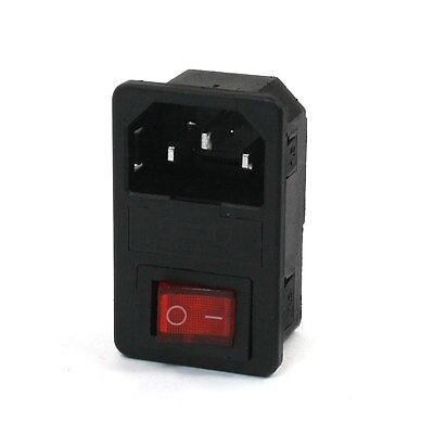 250VAC 10A Fuse Holer 3 Pin IEC320 C14 Inlet Power Plug w O/I Rocker Switch