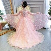 Милые вечерние платья в виде цветка для девочек на шнуровке на день рождения Одежда для свадьбы принцессы бальные платья с длинным шлейфом
