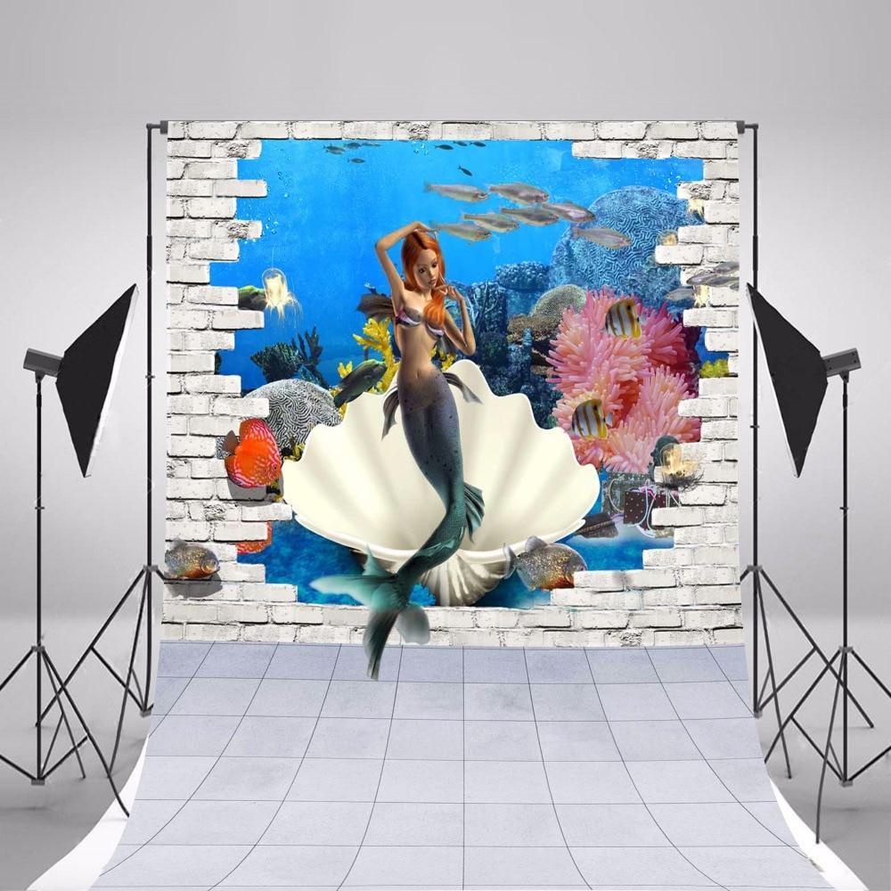 2017 Children Photographic Backgrounds Ocean Mermaid Photo Backdrops Vinyl Backgrounds For Photo Studio Fundo Fotografia