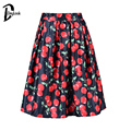DayLook Summer Skirt Women Fruit Cherry Print Knee-Length Tutu Skirt A-Line Pleated Gall Bown Elastic High Waist Skater Skirt