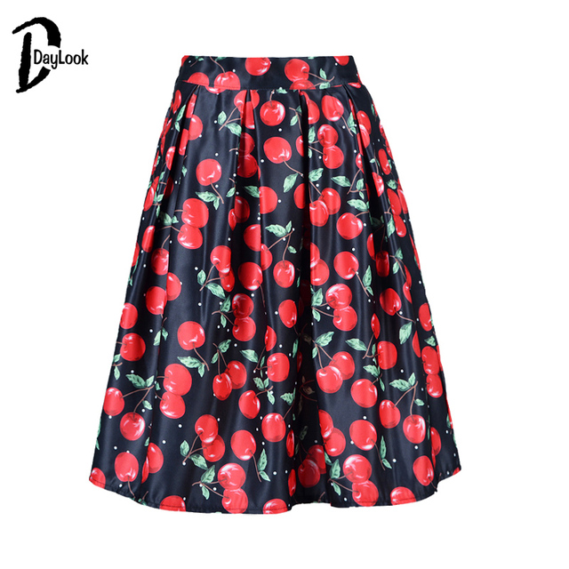 6a2367ba71 DayLook Summer Skirt Women Fruit Cherry Print Knee-Length Tutu Skirt A-Line  Pleated