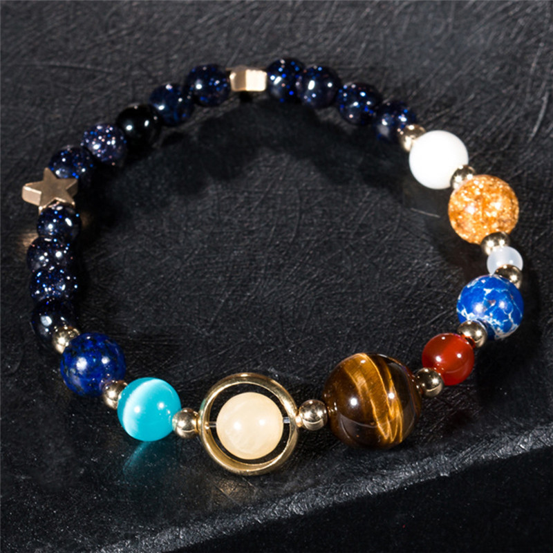 Stone Bracelet Universe Galaxy the Eight Planets in the Solar System Guardian Star Bracelet for Women Men Gift Drop Shipping