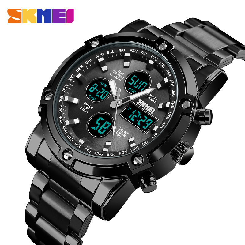 <font><b>SKMEI</b></font> New Mens Watches Digital Quartz Analog Sports Wristwatch Waterproof Stainless Steel Clock Male Watch Relogio Masculino image