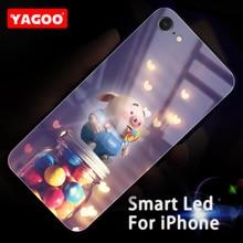 Yagoo Smart Led Glowing Phone Case For iPhone 6 6S Plus Cases Back Cover Animal Pattern Funda Luxury Fashion Silicone Cartoon