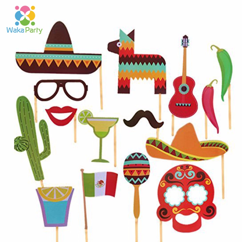 29pcs/lot Mexican Themed Photo Booth Props Kit Decorations Summer ...