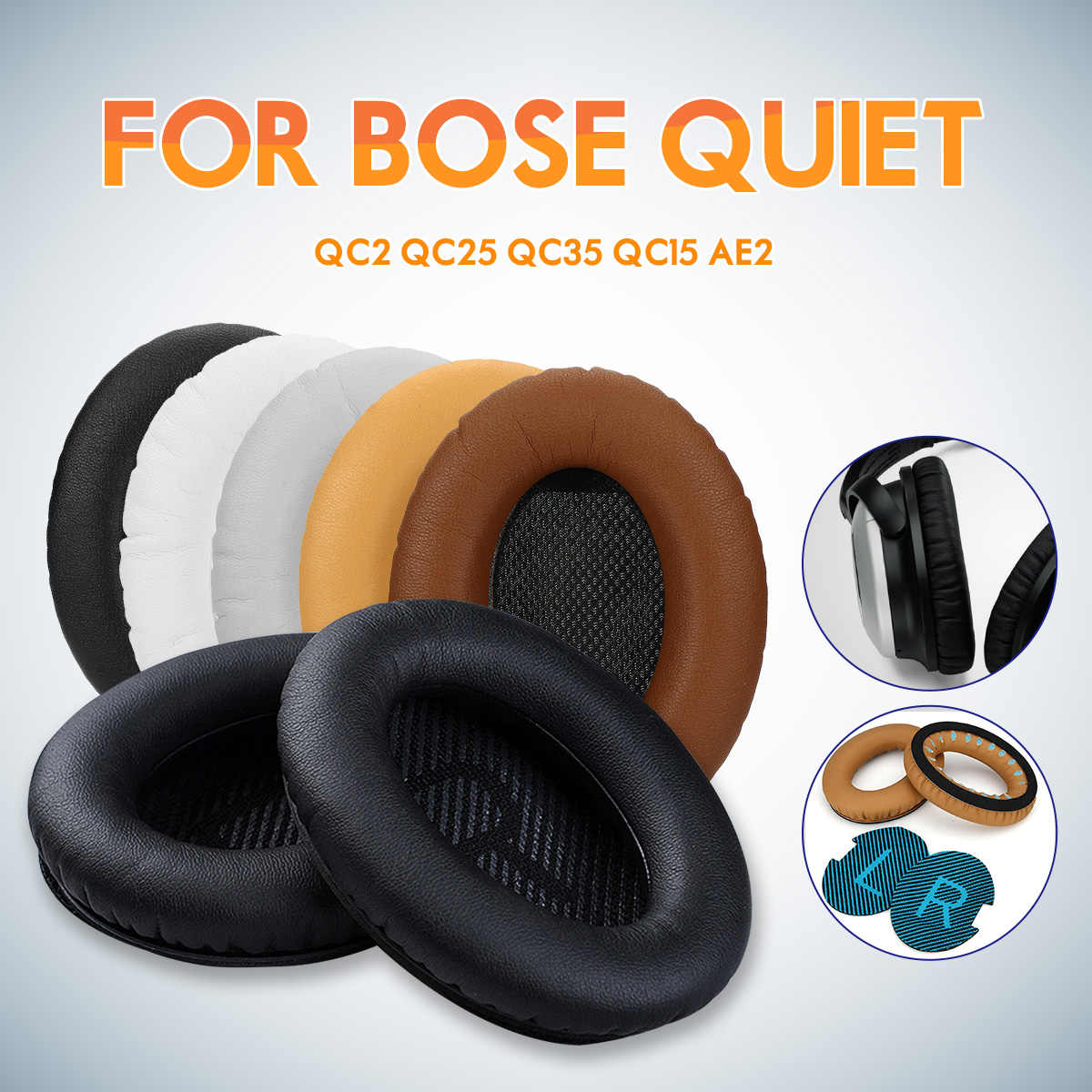 1 Pair Black White Grey Coffee Khaki Replacement Soft Foam Sponge Headphone Ear Pad Cushion For BOSE QC2 QC25 QC35 QC15 AE2