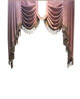 High end Velvet Gilded Purple Curtains for Living Dining Room Bedroom Blackout Valance Curtains