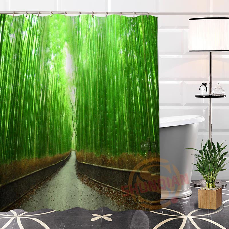 Eco-friendly Custom Unique Leaves-Bamboo Fabric Modern Shower Curtain bathroom With Hooks for yourself H0220-39