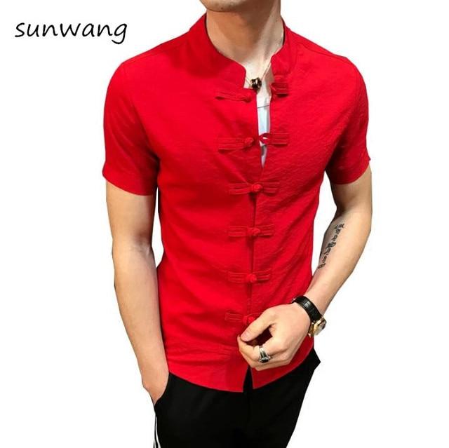 0dd517346 sunwang Men Linen Shirts Short Sleeve Chinese Style Mandarin Collar  Traditional Kung Fu Casual Social Shirt Brand Clothing M-6XL
