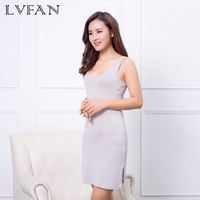 Y005 LVFAN Women Natural Silk Plus Long Section V neck Summer Silk Anti Emptied Intimates Everyday Slip Dress Large size