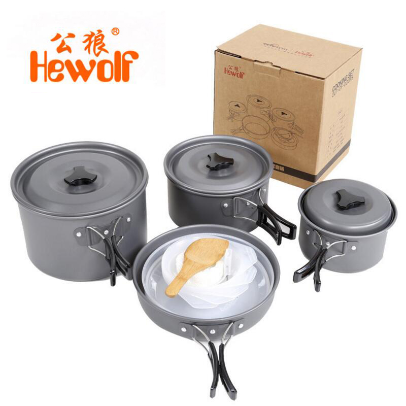 Camping Cookware Pot Pan 3-5 Person Outdoor Cookware Set Camping Tableware Cooking Set Travel Tableware Hiking Picnic Set Pot