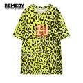 2016 nova t-shirt da cópia do leopardo das mulheres gráfico de manga curta HARAJUKU tee top para a mulher senhoras camiseta solta elegante amarelo T camisa