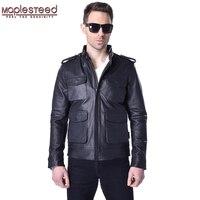 MAPLESTEED Alpha M65 Genuine Leather Jacket Men Leather Coat 100% Cowhide Skin Black Bomber Man Genuine Leather Coat Jaqueta 156