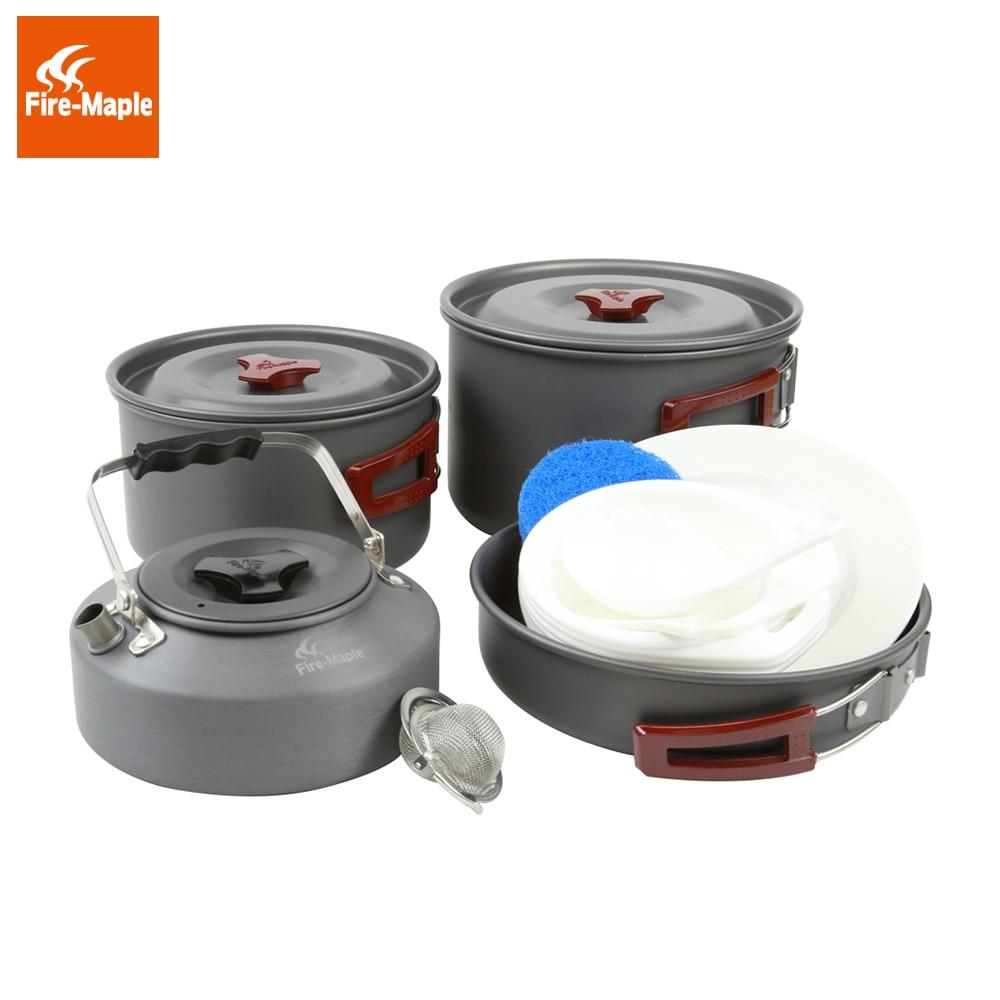 Огонь Клен сковорода Открытый Кемпинг Складная кухонная посуда алюминиевый сплав 1Fry Pan 2 горшки 1 чайник для 4-5 человек FMC-209