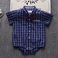 INMUSION boy bebé ropa de escalada leotardo ropa de verano recién nacido del bebé de algodón a cuadros clásicos gentleman mono Mameluco