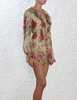 Melody плавающие с цветочным принтом Длинные рукава глубоким v образным вырезом Женская летняя обувь праздник шелковые комбинезоны с поясом