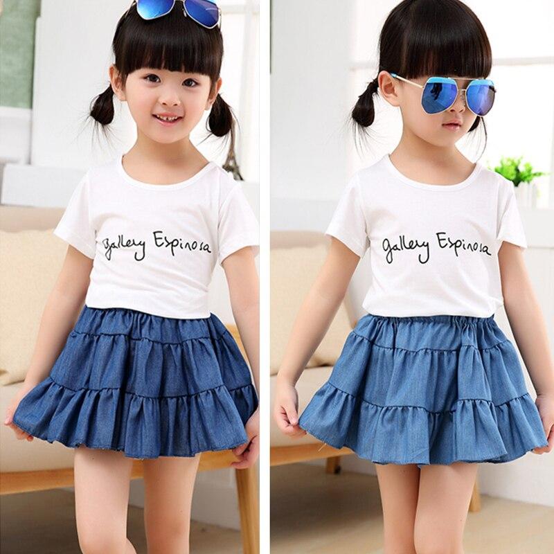 5693d80e2 2015 nueva ropa de los niños niñas cake falda de verano sección delgada  coreana salvaje moda casual denim niños de la falda de 3 10 años de edad en  Faldas ...