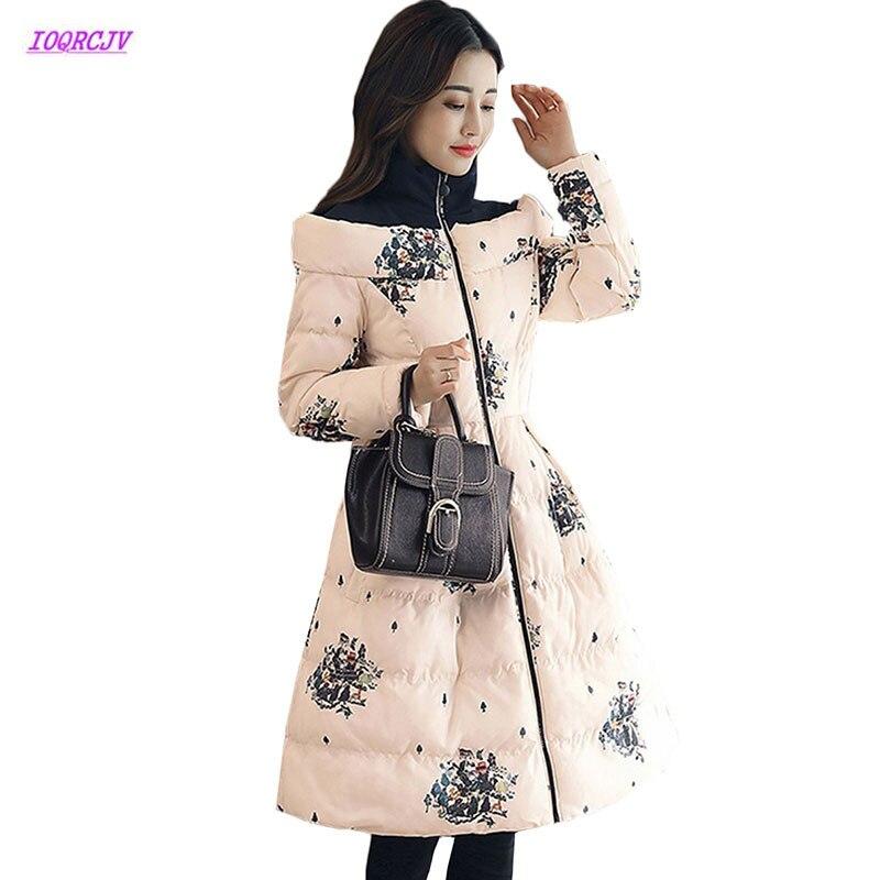 Épais New De Vers Cream Grey navy Chaud light Moyen W195 Femmes Long Color Le Imprimé Coréenne Femme Manteaux Coton Mode Veste 2018 Bas D'hiver Parkers q0wfWXY