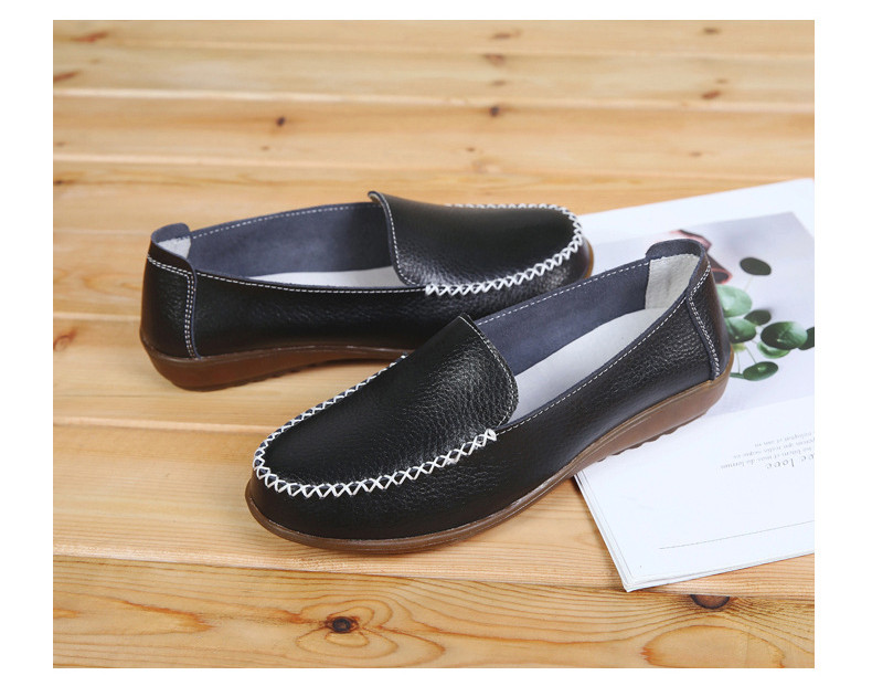 XY 518-2019 Genuine Leather Women's Shoes Soft Woman Loafers-7