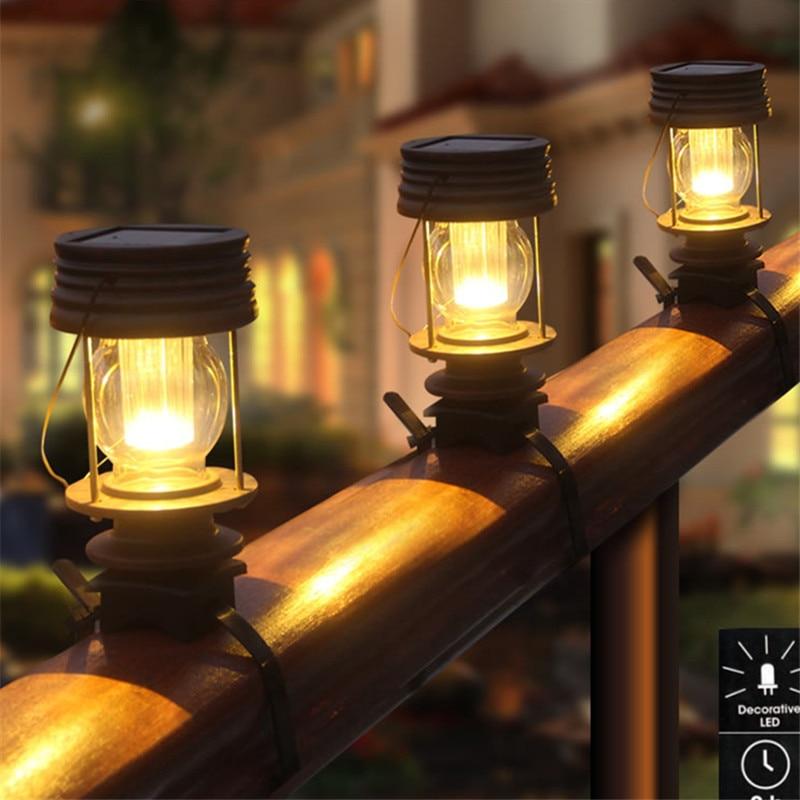 Retro Led Solar Panel Railing Fence Lights Waterproof Home