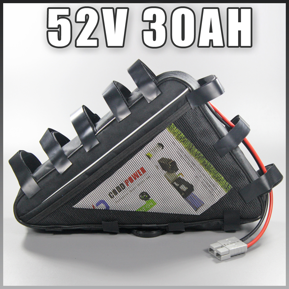 Triangle Battery 52V 30AH Lithium ion Battery Pack For 2000W 3000W 51.8V Ebike battery triangle style ebike battery 51 8v 30ah 1500w electric bike battery with bms lithium battery 52v battery pack for panasonic cell