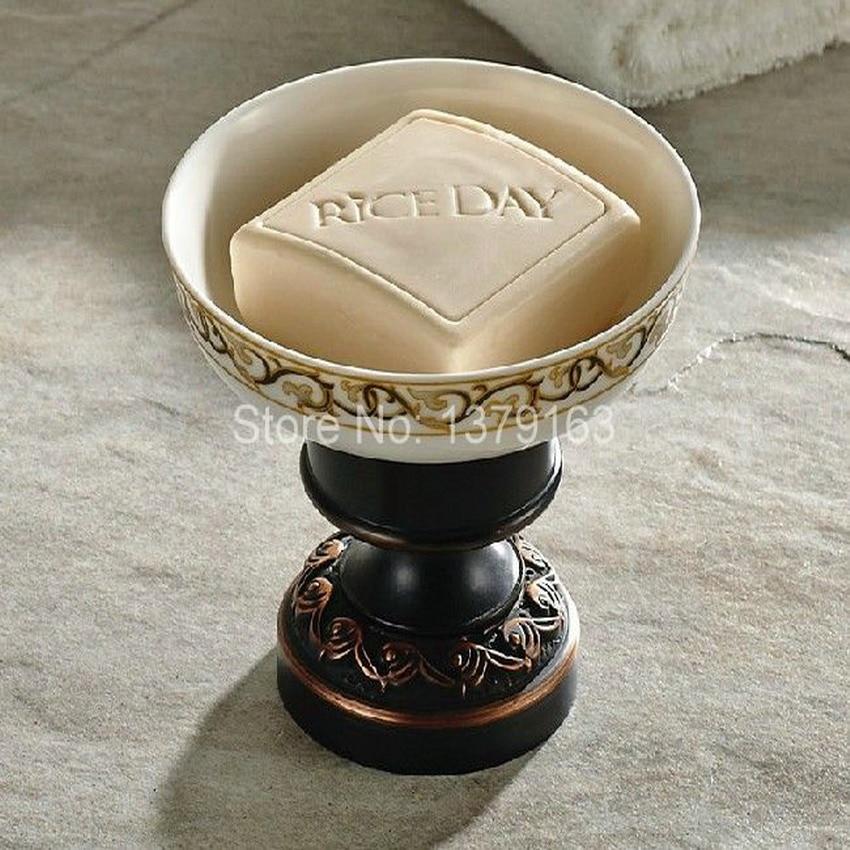 Bathroom Accessories Black Oil Rubbed Bronze Deck Mounted Bath Soap Dish or ashtray Dish Holder With Ceramic Dish aba473