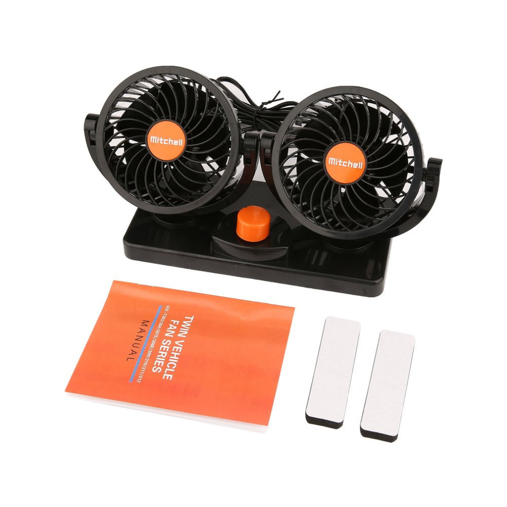 12V Auto Car Fan with Cigarette Lighter Dual Head 2 Adjustable Speed Dashboard Electric Fan Quiet Auto Fan For Vehicle SUV