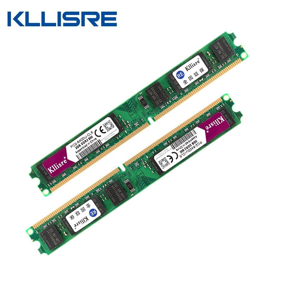Kllisre DDR2 (2 pz X 2 GB) Ram 2 GB 800 MHz PC2-6400U 1.8 V CL6 Pin non-ECC Memoria Desktop Dimm Nuovo