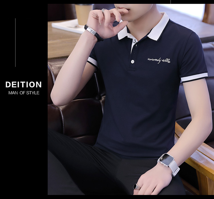 2019 men splicing t-shirts with short sleeves Comfortable in summer youth leisure lapel t-shirts 18