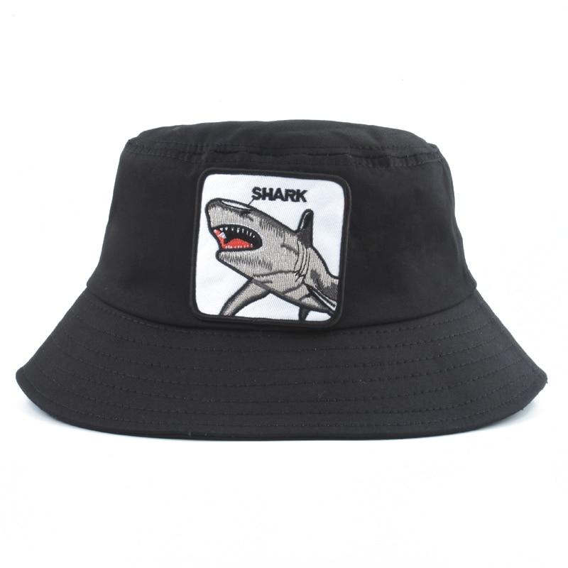 2019 New Fashion Panama Bucket Hats Men Women Summer Fishing Hat Shark Embroidery Animal Hip Hop Cap Bob Hat Chapeau