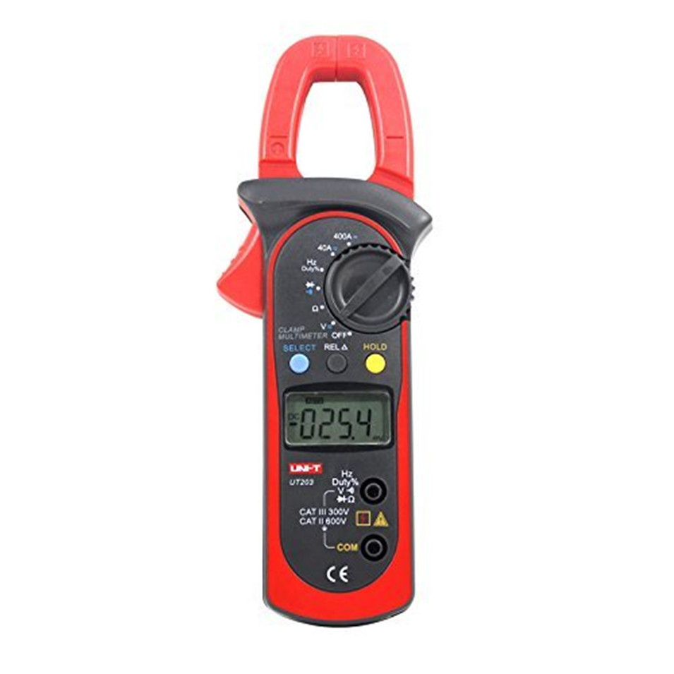 Free Shipping UNI-T UT203  Digital Clamp Multimeter Ohm DMM DC AC Current Voltmeter 400A gB0636
