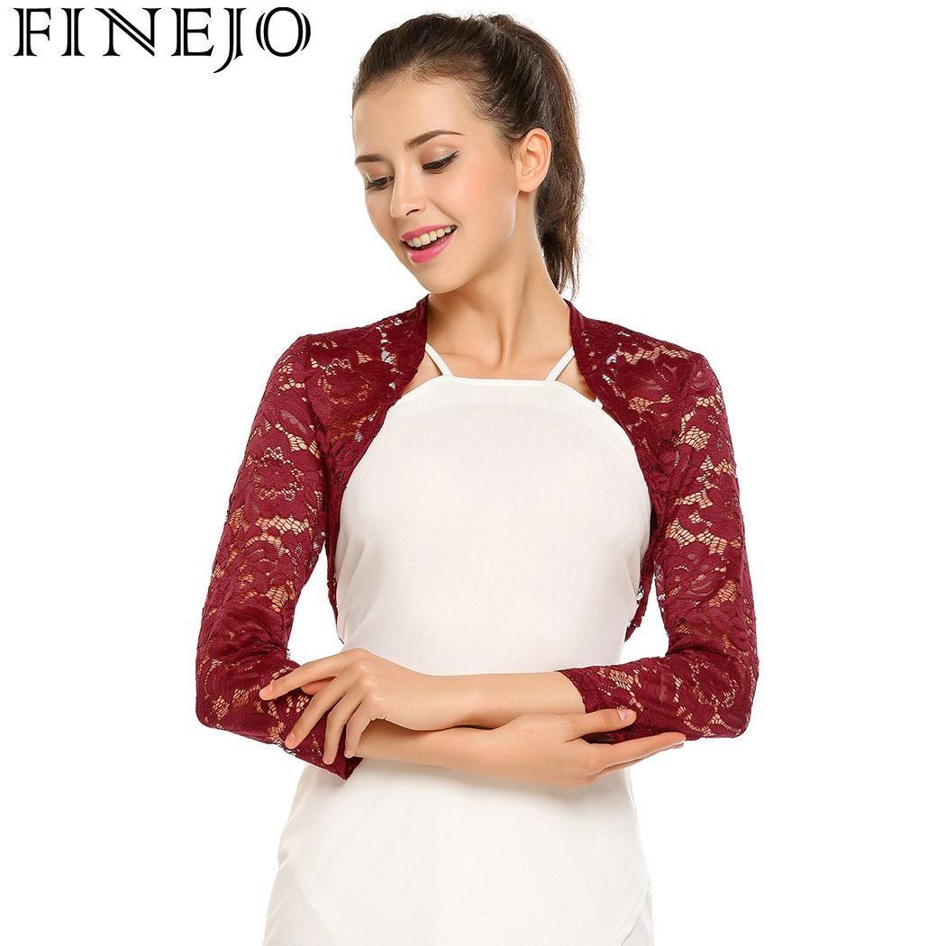 FINEJO Summer Autumn Cardigans Fashion Casual Women 3/4 Sleeve Floral Lace Front Open Stitch Slim Bolero Blouse Top Thick Coat