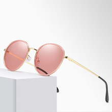 Classic retro round frame polarized sunglasses for women man's outdoor fashion driving travel color sun glasses UV protection(China)