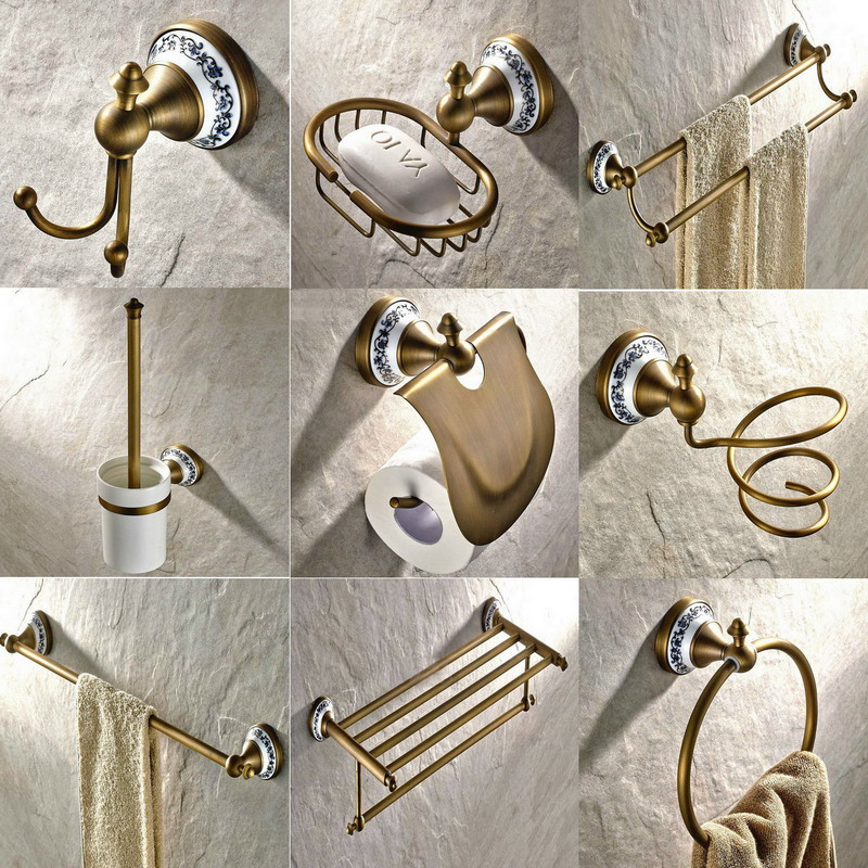 Antique Brass Ceramic Bathroom Hardware Wall Mounted Bathroom Accessories Set,Toilet Paper Holder,Towel Bar Soap Dish aset011 3 pieces antique copper bathroom set include towel bar paper holder soap dish