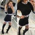 S-xl letras imprimir mujeres patchwork dress 2016 verano 3/4 ocasional de la manga del sexo vestidos tallas grandes bodycon oficina dress vestidos 16312